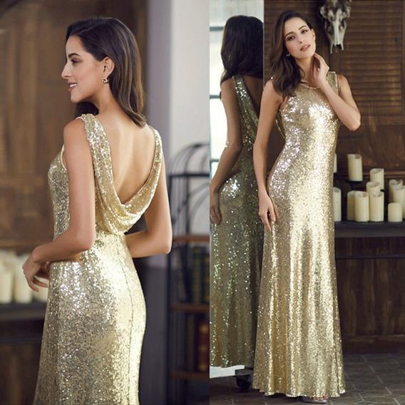 Elegante Vestido Fiesta Largo Color Dorado Importado