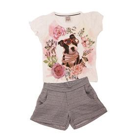 43ba9f6570d Conjunto Infantil Camisa Dog floral Branca E Short