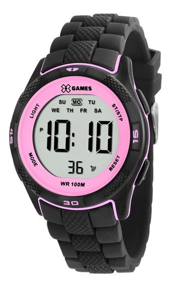 Relógio Feminino X-games Xmppd353 Digital Preto E Rosa Orig