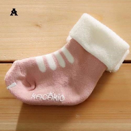 Meia Infantil Bebe Menina Antiderrapante Rosa