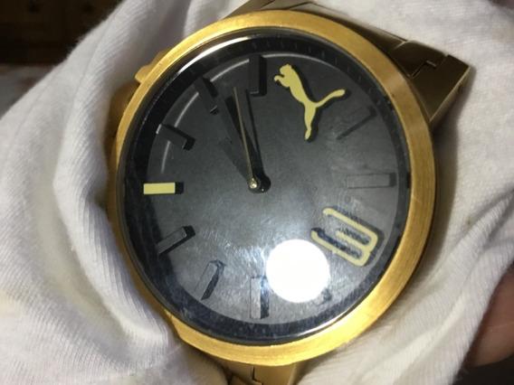 Relógio Puma, Grande, Dourado, Fundo Preto, Pulseira Preta
