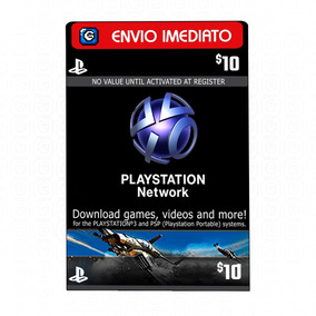 Playstation Network Card Cartão Psn $10 Dólares Usa Ps3 Ps4