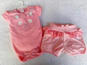 Conjunto Infantil Feminino De Body E Shorts Para Bebês