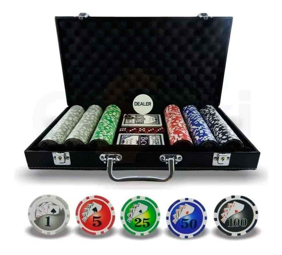 Jogo Poker 300 Fichas Profissional Numeradas Maleta Couro