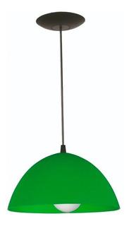 Colgante De Pvc Ø260mm (apto Led) C122 Verde Rosca Comun E27