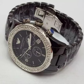Relógio Empório Armani Ar1455 Cerâmica Preto Top Strass!!
