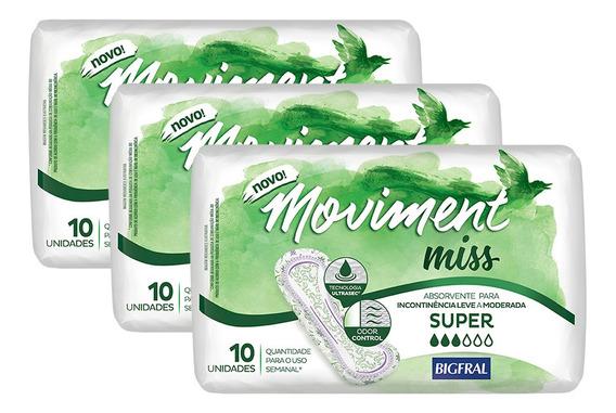 Kit Absorvente Para Incontinência Moviment Miss Super - 30 U