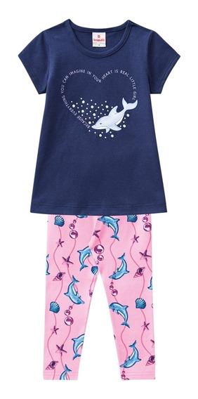 Conjunto Infantil Blusa E Calça Legging De Cotton - Brandili