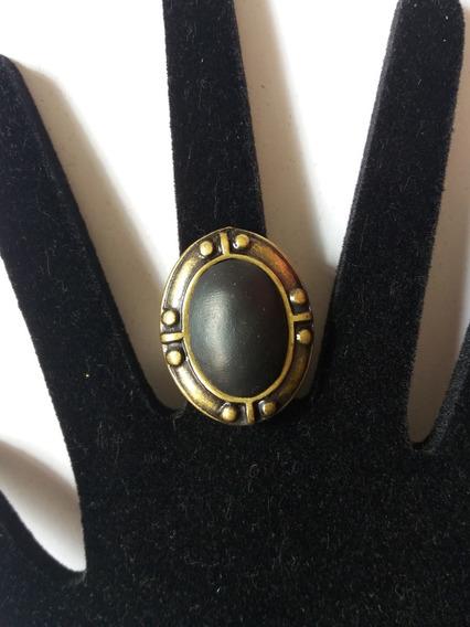 Promoção Anel Dourado Envelhecido Oval Pedra Preta Regulável