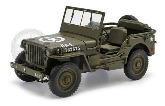 Miniatura Jeep Willys 1941 Militar Verde 1/18