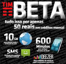 Convite Tim Beta 600 Min Tel + 10gb De Internet