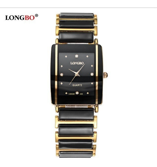 Relógio Feminino Longbo Preto Dourado Black Gold Quadrado
