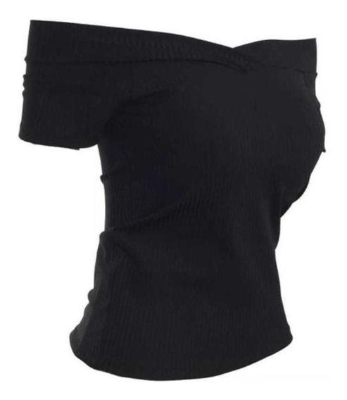 Blusa Blusinha Canelado Ombro A Ombro Feminina Camiseta Top