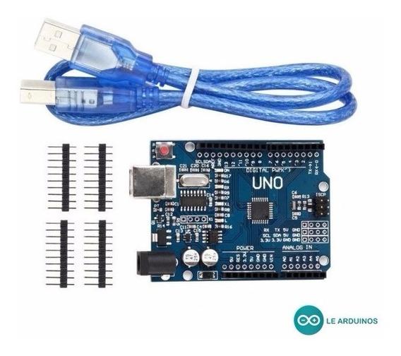 Arduino Uno Rev3 R3 Atmega328p Com Cabo Usb + Pinos