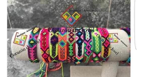 Paca/lote 12 Pulseras Artesanales De Hilos De Chiapas (1cm)