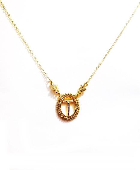 Colar Inicial Letra T Cristal Folheado A Ouro 18k
