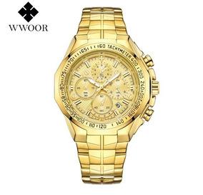 Relógio Masculino Dourado Cronógrafo Wwoor 8868 Luxo Gold