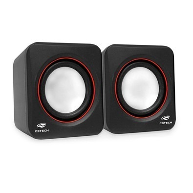 Caixa De Som 2.0 Mini Pre/verm Sp-301bk C3 Coletek