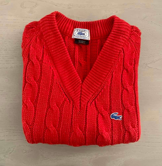 Suéter Lacoste Vintage Cable Hipster Rojo Cuello V Mediano