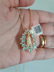 Gargantilha N S Aparecida 15 Microns Ouro 18k Zirconias