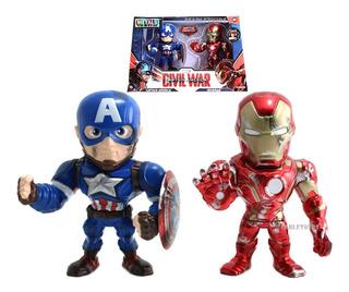 Capitan America + Iron Man Figuras Metals 11 Cm Diecast Jada