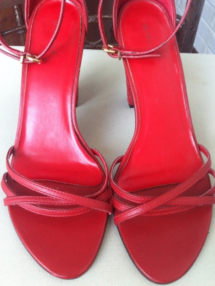 Sandália Vermelha Couro Sexy Mofficer 38
