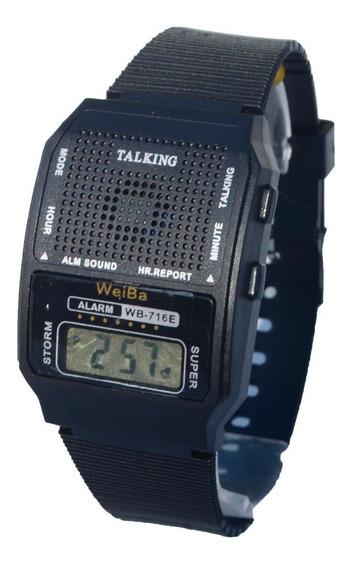 Relógio Pulso Fala Hora Deficiente Visual Cego Voz Som Nf-e