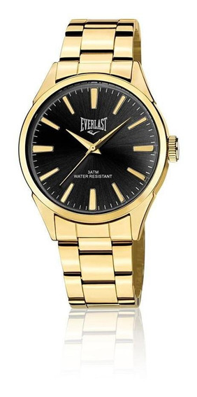 Relógio Pulso Everlast Masculino Aço Dourado E637