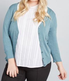 Plus Size 50 Ao 66 Cardigan Blusa De Frio - Tricot