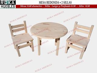 Mesa Redonda + 2 Sillita De Niño Pino Roka