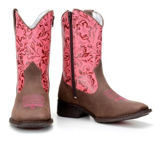 Bota Feminina Infantil Montaria Texana Country Couro Ref 574