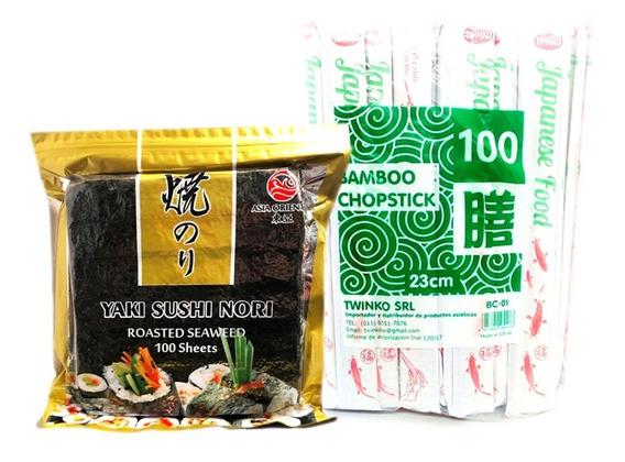 Mix Sushi Algas Nori 100u + Palitos Chinos De Bambu 100u