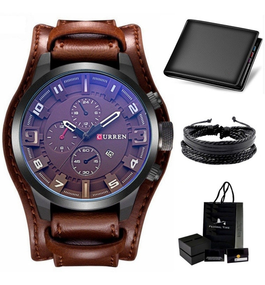 Relógio Masculino Curren Original 8225 Couro +carteira +puls