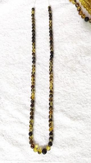 Hermoso Collar De Ambar Chiapaneco/ Con Musgo/ Esferas
