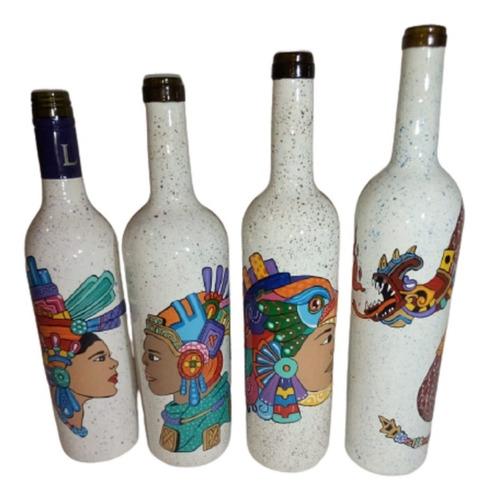 Imagen 1 de 9 de Botellas Adornadas Artesanalmente Y Personalizadas 3 Piezas