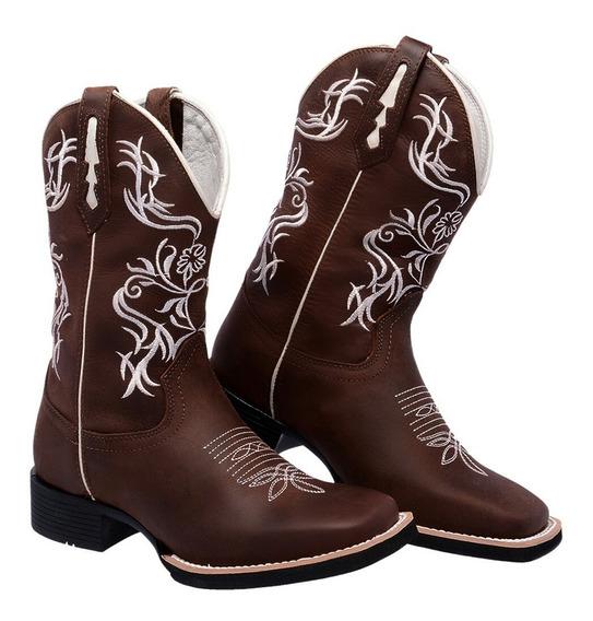Bota Feminina Country Texana Couro Legítimo Texasking