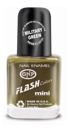 Imagen 1 de 4 de Esmalte Flash Colors De Gnp 9ml Verde Militar