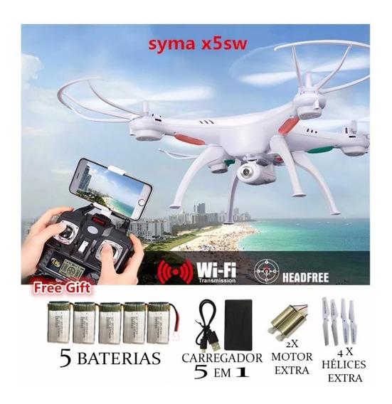 Drone Syma X5sw C/ Câmera Fpv Wi-fi 5 Baterias