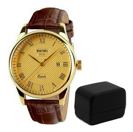 Relógio Skmei 9058 Super Promoção Luxo Ouro Pulseira Couro