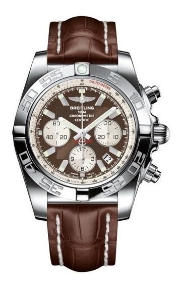 Breitling Chronomat 44 Dial Marrom Com Pulseira De Couro