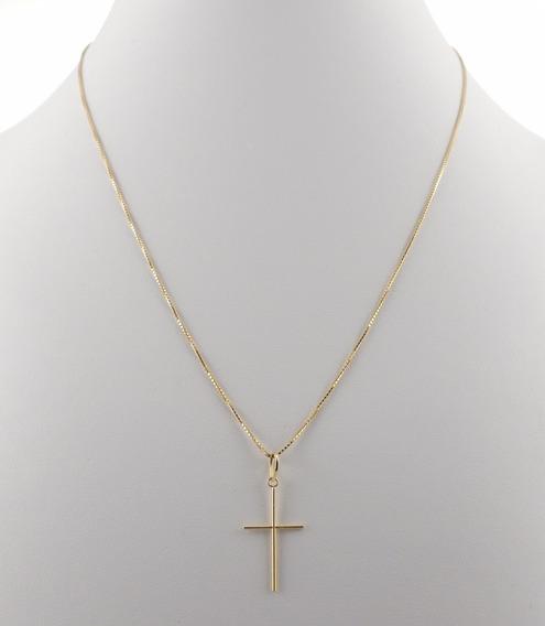 Cordão Italiana De 60cm + Crucifixo Masculino Ouro 18kmaciço