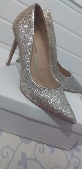 Salto Alto Street Shoes Com Glitter