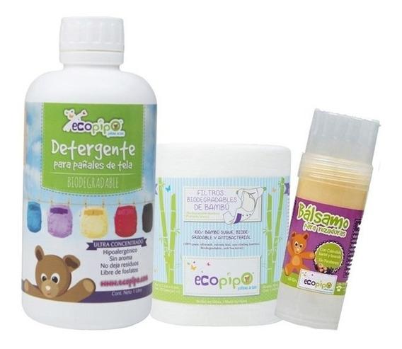 Detergente 1 Litro + Papel Bambú + Bálsamo Rozaduras Ecopipo