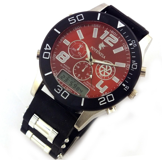 Relógio De Pulso Masculino Pulseira Borracha Bateria B5640
