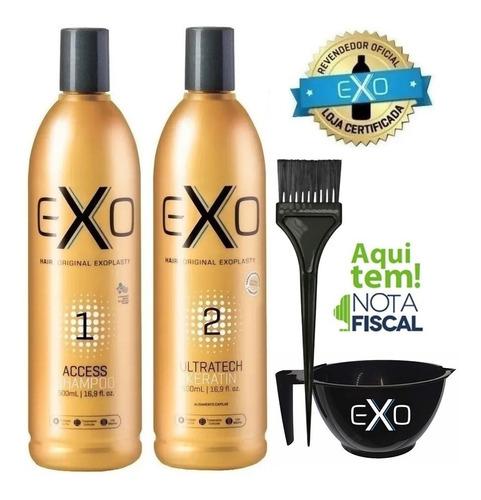 Imagem 1 de 10 de Exo Hair Alisamento Exoplastia Capilar 2x500ml + Brinde!