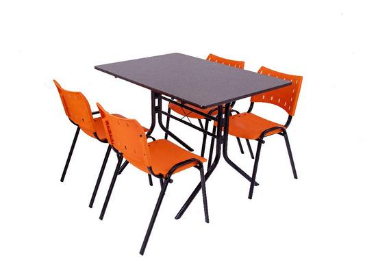 Conjunto De Mesa 4 Cadeiras Restaurante Sorveteria Lanchonet 1,20x70