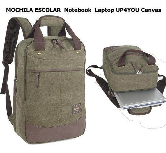 Mochila Escolar Notebook Laptop Up4you Canvas