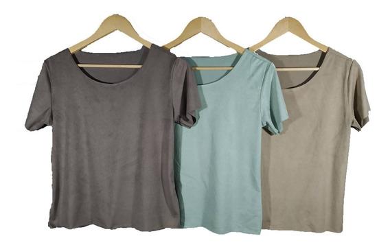 Kit 3 Blusinha T-shirts Sued Lançamento 2019 Outrono-inverno
