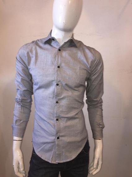 Camisa Para Caballero Color Gris Plata 01