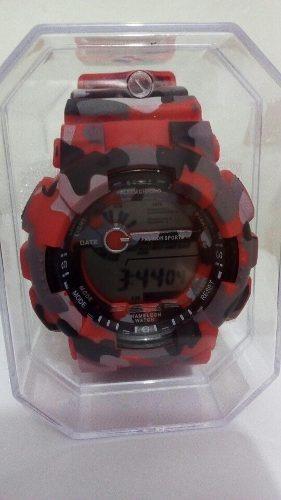 Relógio Militar Camuflado Vermelho Antishok Barato
